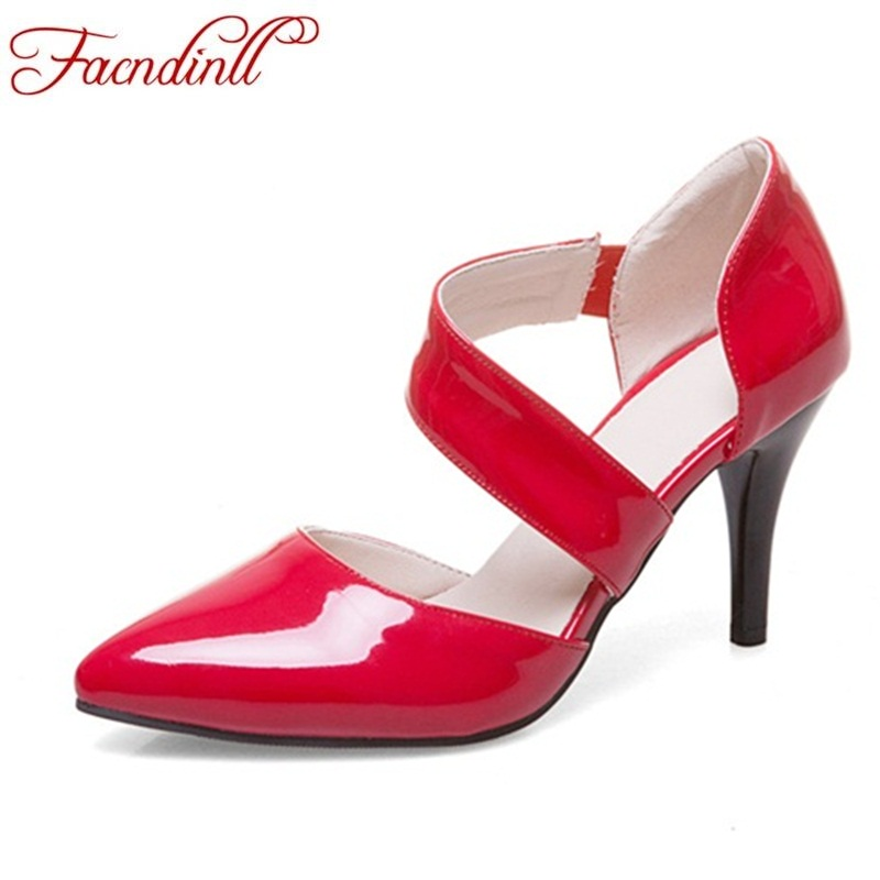 все цены на FACNDINLL PU leather woman pumps fashion pointed toe high heels women black spring shoes ladies office dress wedding date