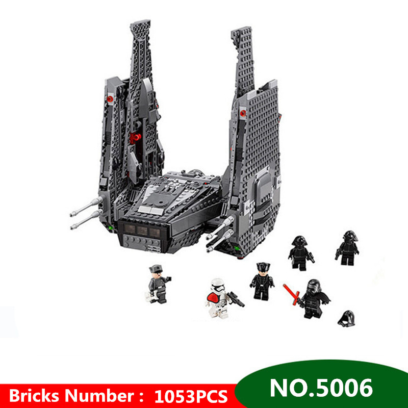 1053pcs Diy In-Stock Kylo Ren Command Shuttle Blocks Educational Brick Compatible with Legoingly Model Toys for children lepin 05006 star kylo ren command shuttle lepin building blocks educational toys compatible with 75104 lovely funny toys wars
