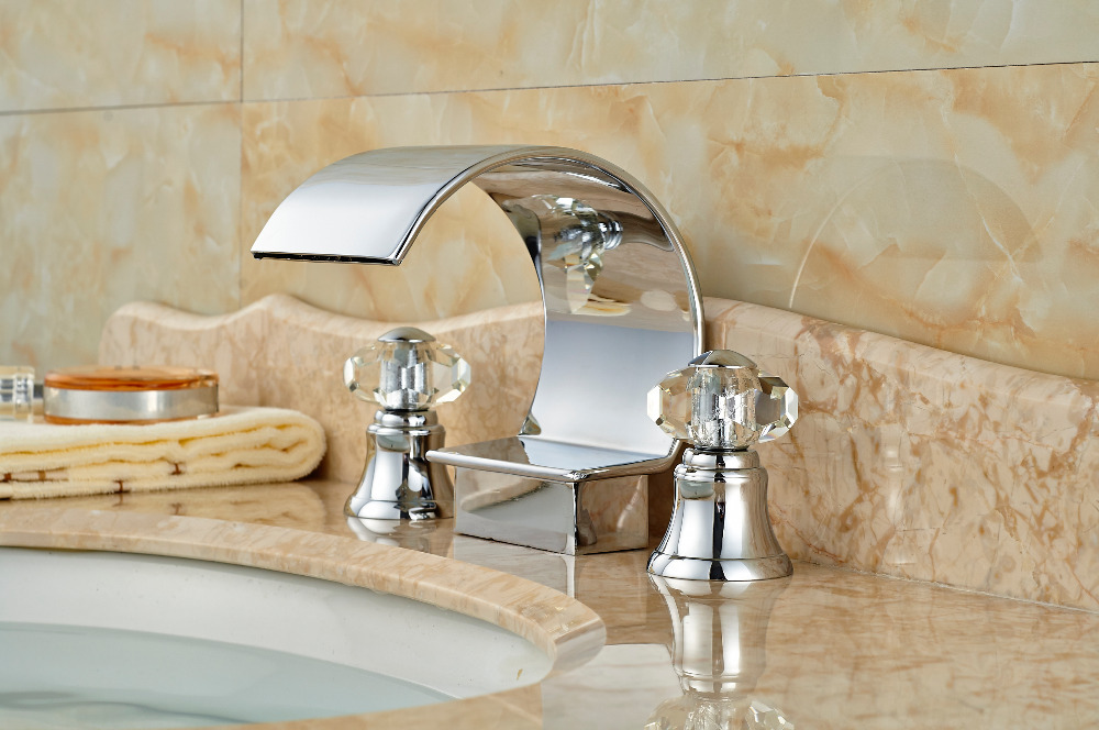 3PCS Chrome Brass Bathroom Basin Deck Mounted Sink Faucet Waterfall Mixer tap Crystall Handles deck mount waterfall spout 3pcs brass basin sink faucet dual handles 3 holes mixer tap chrome finish page 3