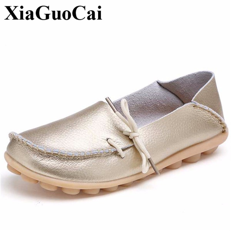 Plus Size Genuine Leather Shoes Women Loafers Casual Flats Shoes Comfortable Antiskid Mother Slip-on Shoes Women H27 35 women s genuine leather slip on loafers brand designer flats moccasins leisure espadrilles antiskid comfortable shoes for women
