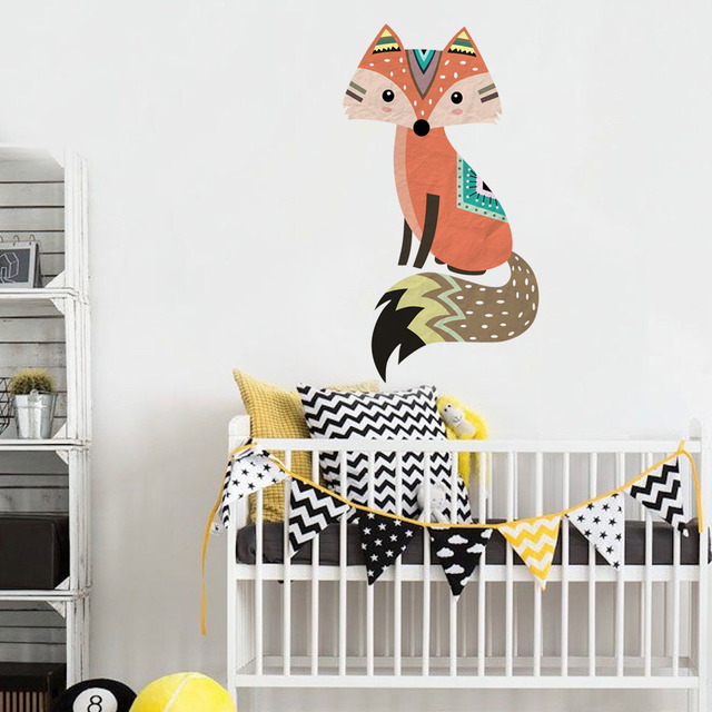 Cute Tribal Fox Wall Sticker Vinyl Cartoon Woodland Animal Decals For Kids Room Nursery Wallpaper Art