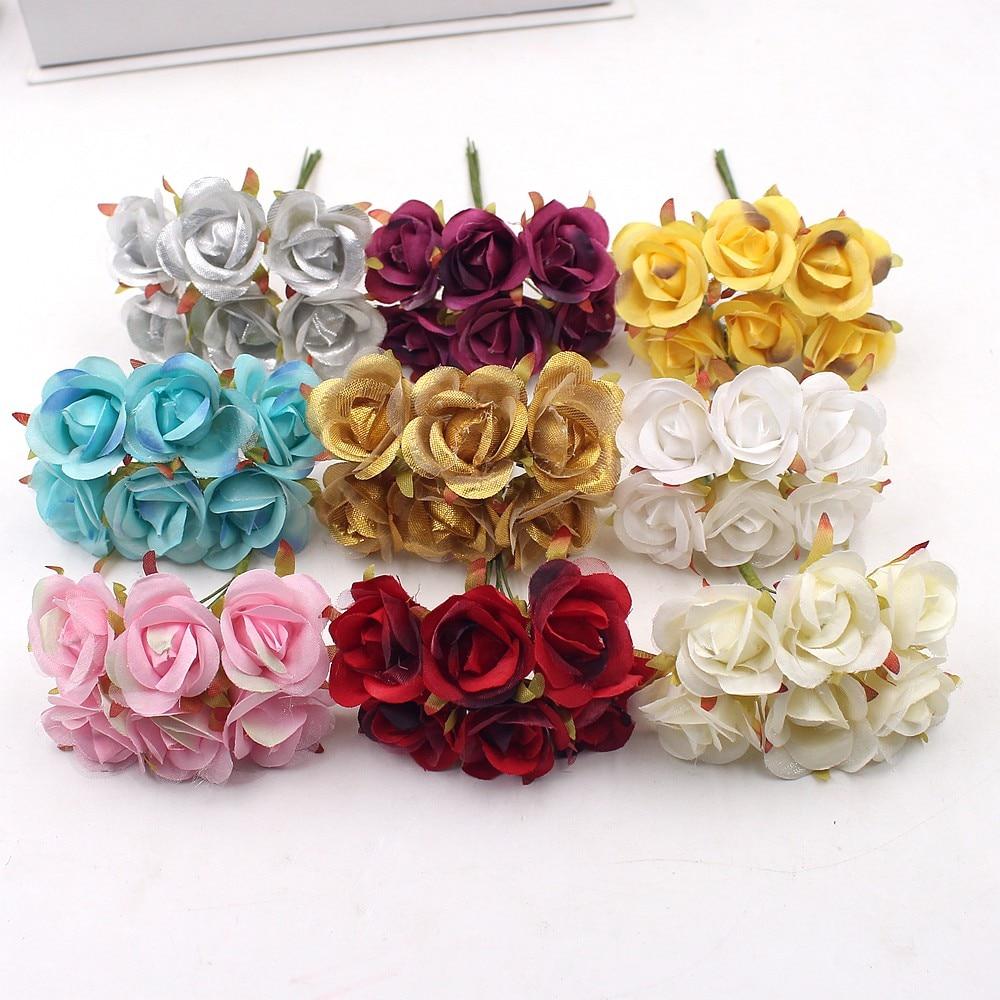 Us 057 13 Off6 Pcs Bunga Buatan Merah Sederhana Naik Untuk Pernikahan Rumah Dekorasi Perhiasan Aksesoris Fleurs Scrapbooking Diy Craft In Buatan
