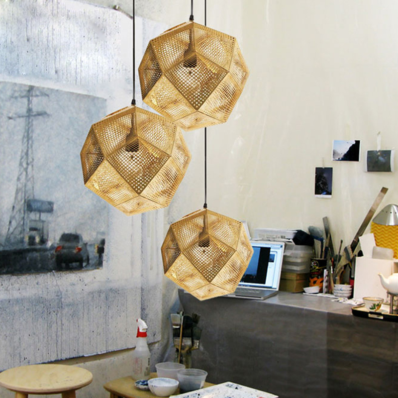 Modern Industrial Pendant Lights Hotel/Restaurant/Bar Pendant Lamps Gold/Silver Stainless Steel Art Geometry Net Lighting цена