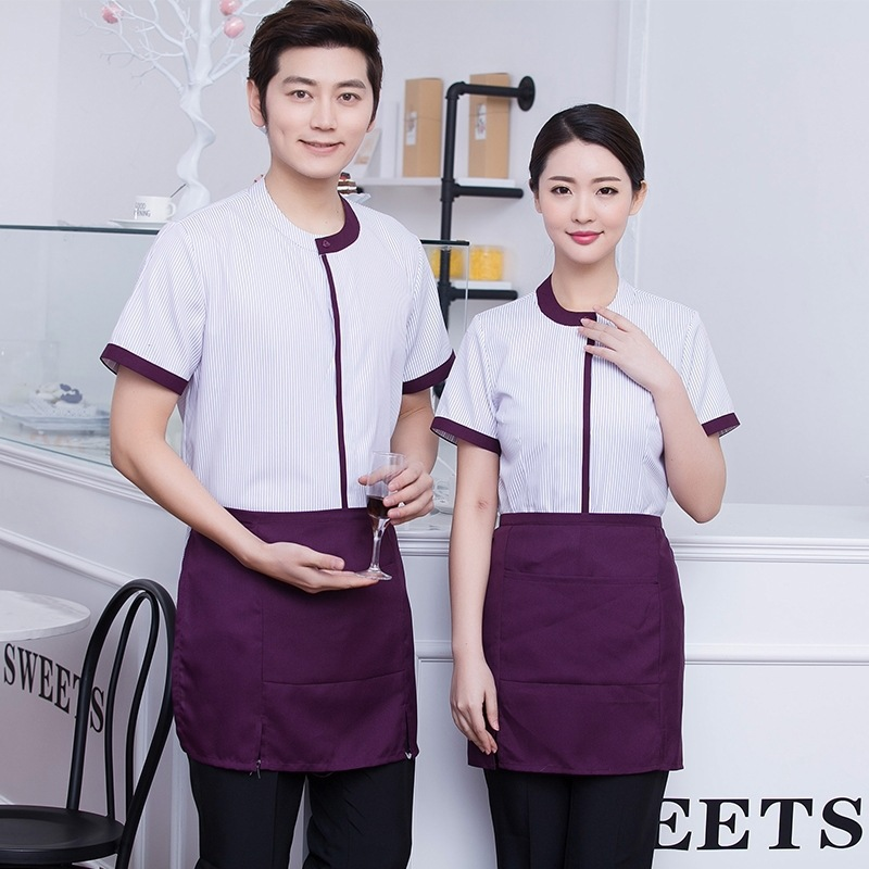 Waiter Uniforms For Fast Food Restaurant Coffee West Restaurant Work Clothes Hot Pot Shop Short Sleeves Overalls Chef Uniform