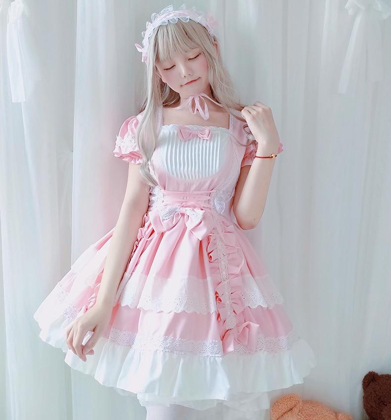 French Maid Gothic Style Pink Short Sleeve Lace Trim Bowknot Dress Japanese Retro Women Lolita Kawaii