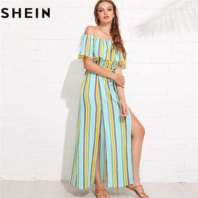 48220631377d SHEIN Maxi Striped Off Shoulder Long Summer Dress for Women 2018 Boho Beach  Vacation M-Slit Pompom Detail Elegant Bardot Dresses