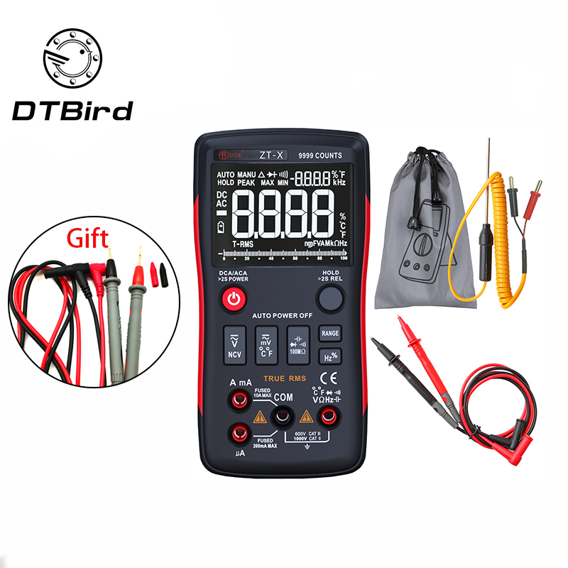 Q1 True RMS Digital Multimeter Auto Button 9999 Counts With Analog Bar Graph AC DC Voltage