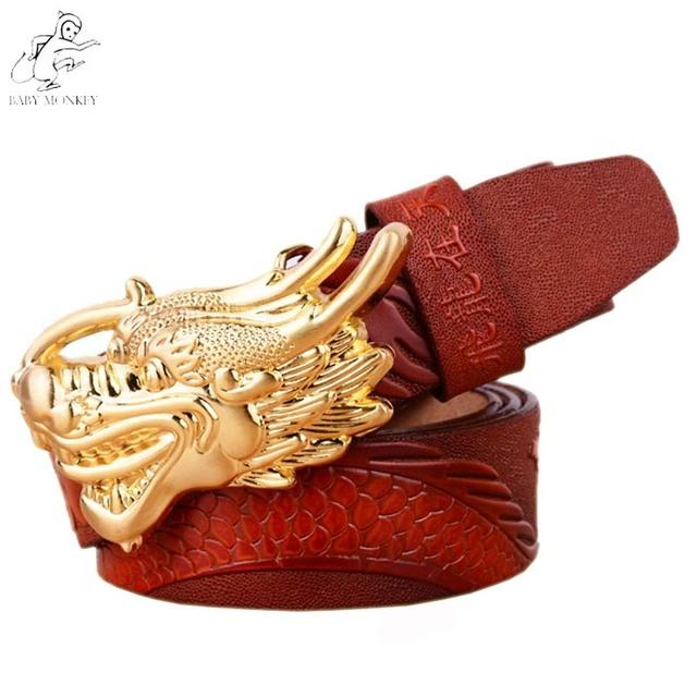 Dragão Fivela de Ouro Cinto de 2016 Marca de Luxo 100% Couro Genuíno Upscale Elementos Q171 Ceinture Cintos de Grife Homens de Alta Qualidade