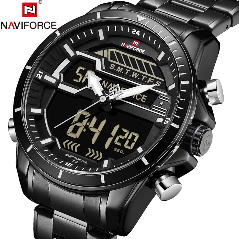 NAVIFORCE Watch Mens Watches Top Brand Luxury Military Stainless Steel Analog LED Digital Quartz Male Clock New Sport Watch 2018 naviforce men watch digital analog sport mens watches top brand luxury military stainless steel led quartz male clock box 9093
