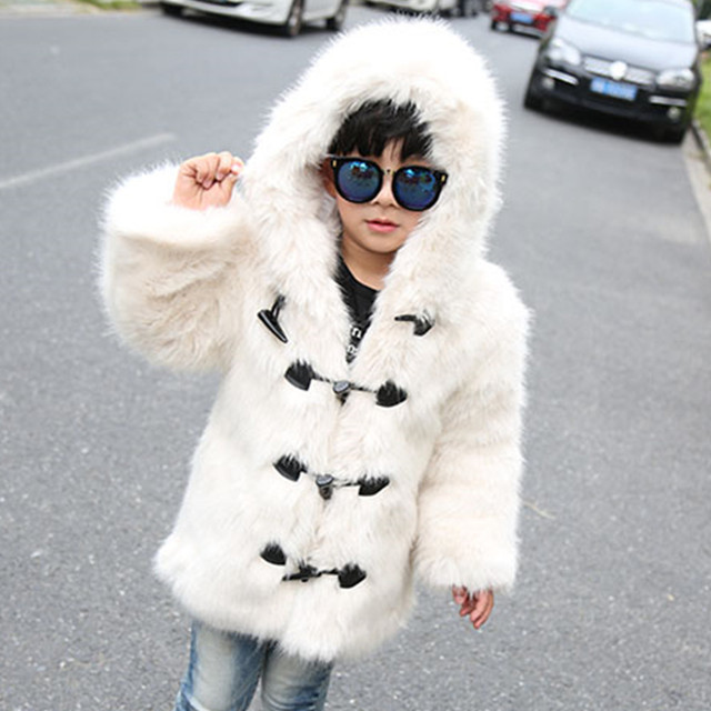 e8b484c6c Fall winter hooded kids boys faux fur jacket coat