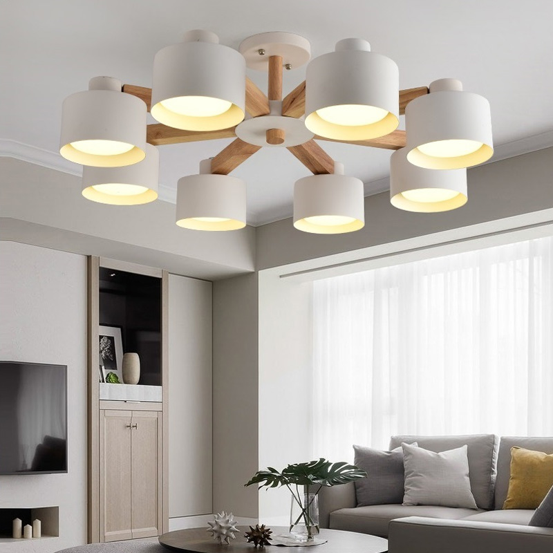 Nordic Chandelier E27 With Iron Lampshade For Living Room Suspendsion Lighting Fixtures Lamparas Colgantes Wooden Lustre Bar
