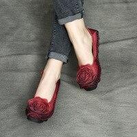 Designer Spring Womens Red Flats Sale Genuine Leather Lady Set Foot Retro Soft Bottom Loafers Handmade