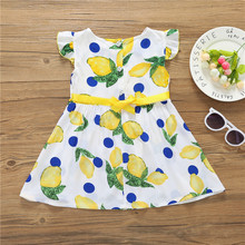 2018 Summer Hugely Popular Little Girl's One-piece Dress Lemon Speckled Design High Quality and Performance Price Ratio