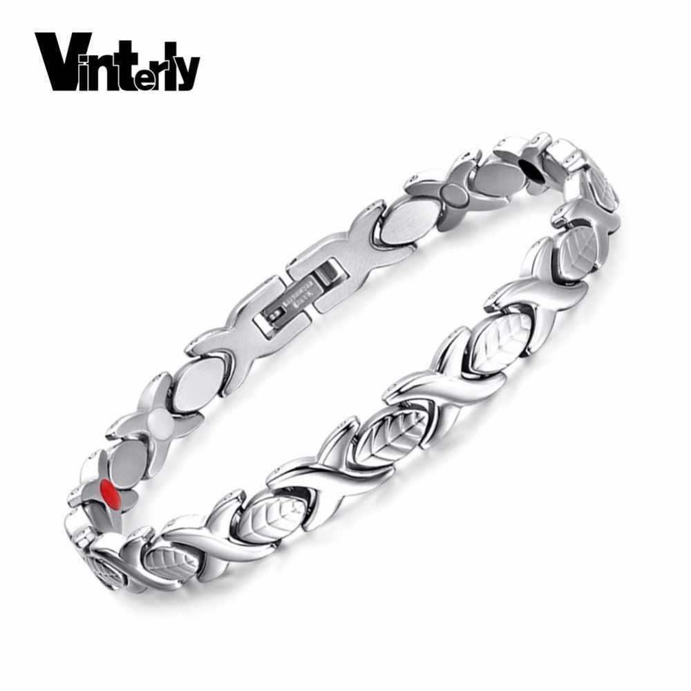 Vinterly葉磁気ブレスレット用女性チェーンリンククロス健康エネルギーゲルマニウムステンレス鋼ブレスレット腕輪ギフト女性