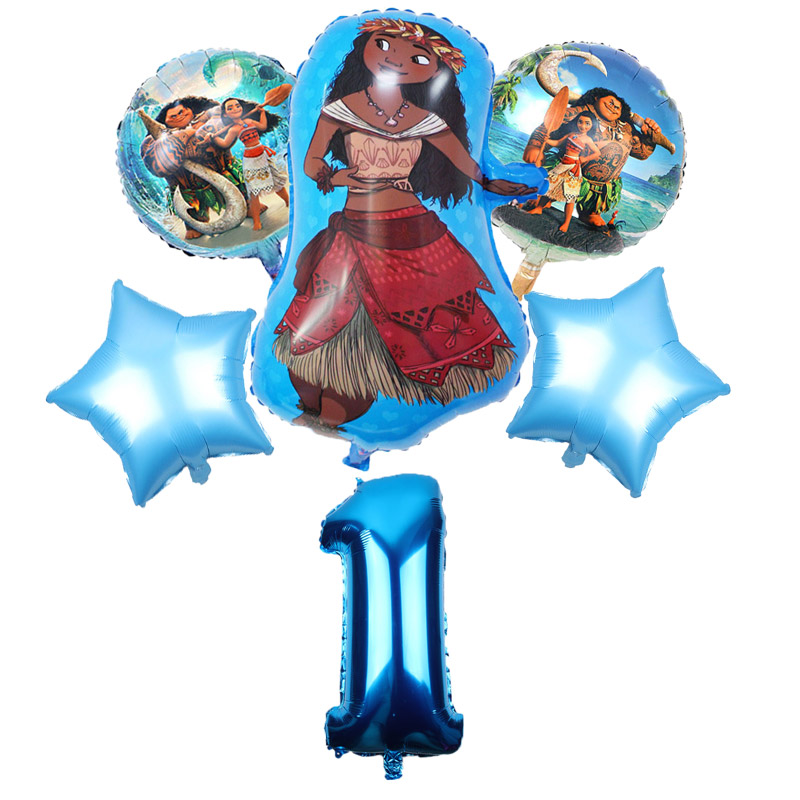 Image 2 - 5 pcs/lot Moana balloons 32 inch Number moana party supplies moana theme birthday party decoration kids toys globo girls gifts-in Ballons & Accessories from Home & Garden