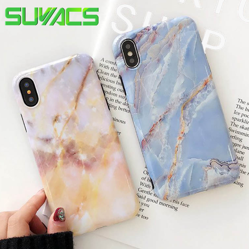 SUYACS Glossy Phone Case For iPhone 6 6S 7 8 Plus X Nature Marble Pattern Soft Silicon IMD Cases Protective Cover Shells Coque