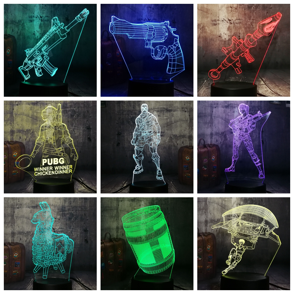 Cool Battle Royale Game Character PUBG TPS SCAR-L SKULL Rocket LED Night Light Desk Lamp 7 Color Kid Toys Decor Christmas Gift