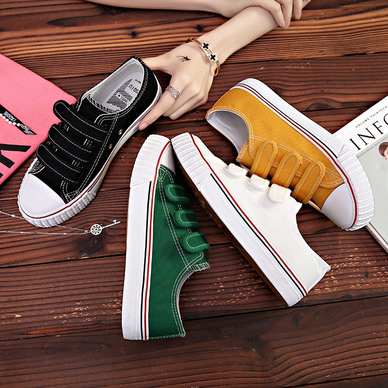 HOT Women's Vulcanize Shoes Sneakers Candy Color Hook&Loop Canvas Shoes White Flat Sneakers Female Rubber Sole Ladies Shoe