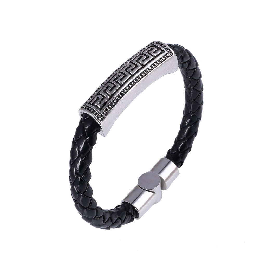 2016 New Arrival Mens Bracelets & Bangles Silver Plated Silicone Rubber  Leather Bracelet Pulseira Men Woman