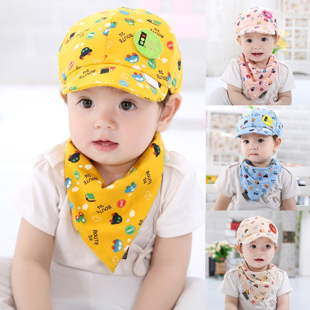 2PCS Baby Toddler Boys Girls Cartoon Hat Cotton + Infant Pinafore for babies Scarf boys Girls Set Outfit baby bib burp Cloths