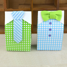 50Pcs/Lot Striped Tie Bow Tie Candy Boxes Baby Shower Sweet Paper Box Wedding Favor Boxes Gift Box Birthday Party Supplies 20pcs lot new design drawer paper candy chocolate boxes baby shower gift packaging box birthday wedding party favor box