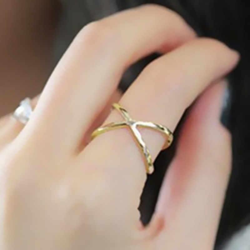 ใหม่แฟชั่นกว้าง GOLD สี Hollow แหวนอินเทรนด์ STACK แหวนเครื่องประดับ Smooth งานแต่งงานคู่แหวนของขวัญ