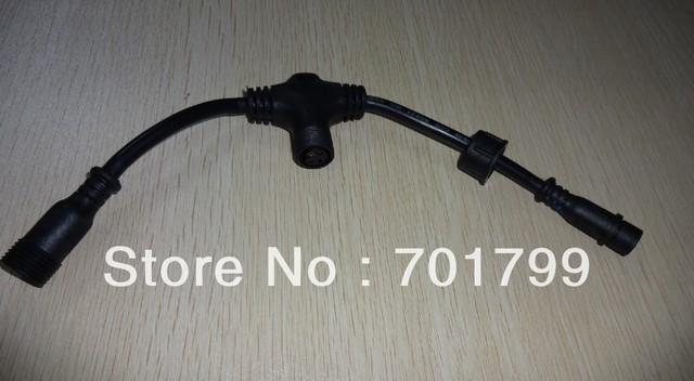 4core T type waterproof splitter;BLACK color;the male connect's diameter;13.5mm