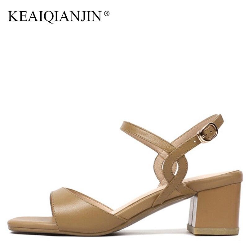 07b8d63930d Zapatos Punta Keaiqianjin Moda Genuino Cuero Altos Sandalia Sandalias Playa  Del Sexy Mujer Abierta De Verano Gladiator Peep Partido caqui Beige Tacones  Toe ...