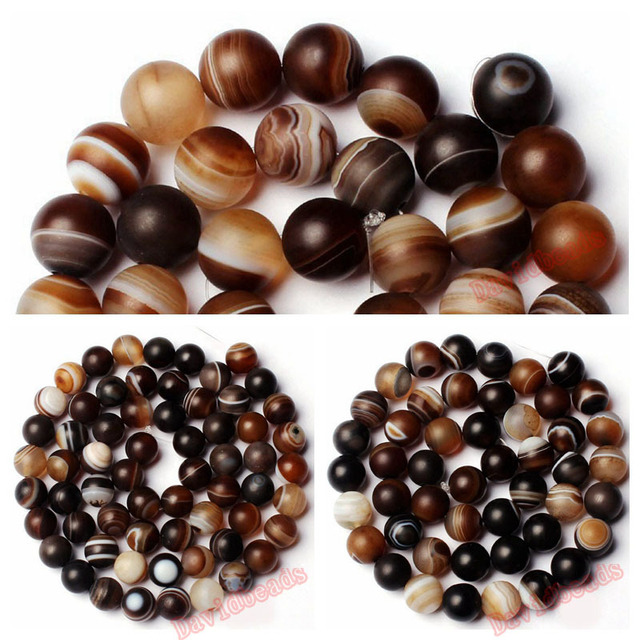 Natural Stone Frost Grind Arenaceous Brown Stripe Agat Onyx Round Loose Beads 6 8 10 MM Pick Size