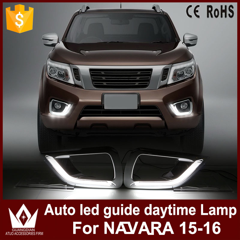LED Daytime Running Light drl chrome fog lamp cover driving lights For NISSAN Navara NP300 Pickup 2015-2016 Car styling for nissan patrol y62 armada accessories original design fog lamp with chrome fog light cover