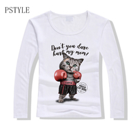 PSTYLE 2018 Spring Women Long Sleeve T Shirt Lovely Cat O Neck Tee Shirt Cat Panda