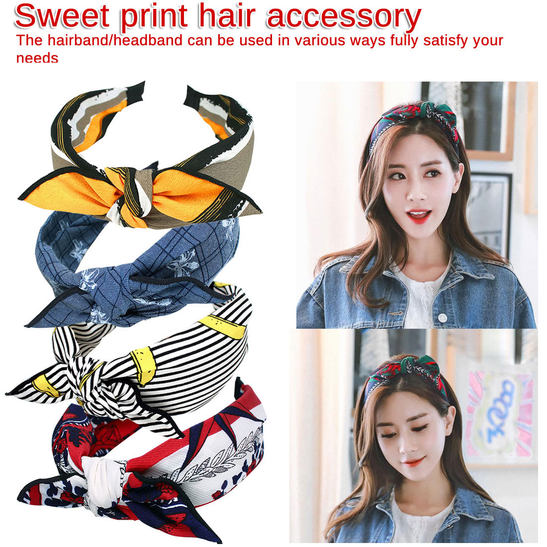 Chic Multi Style Retro Bow knot Wide Hair Band Head wear Girls Fabric Printing Floral Headband Hair Accessories in Women 39 s Hair Accessories from Apparel Accessories