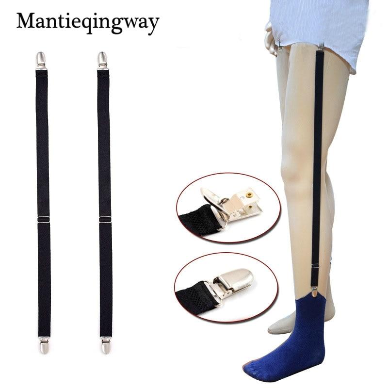 Mantieqingway Socks Suspender Shirt Garters For Mens Black Solid Color Black Stirrup Suspenders Shirt Stay Holders Leg Braces