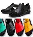 2016 de primavera y verano de Las Mujeres Sandalias femeninas talón plano de diamantes de imitación ascensor recorte sandalia del fósforo del colorante más tamaño zapatos 40-41