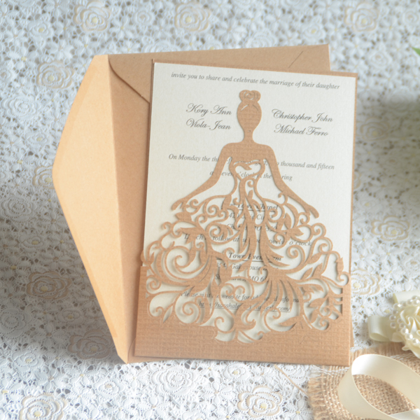 Professional Supply Promotional Paper Cards Custom Wedding Invitation Card Bride Dress Design In Invitations From Home Garden On