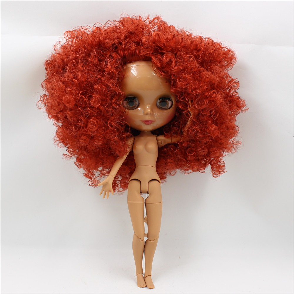 Neo Blythe Doll with Red Hair, Dark Skin, Shiny Face & Jointed Body 1