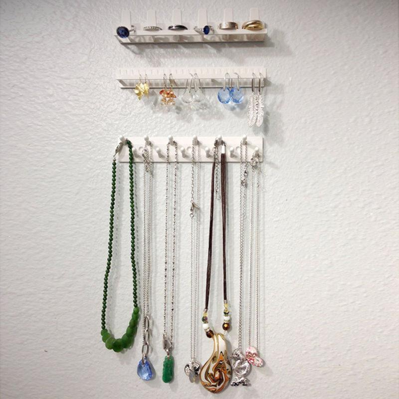 9pcs/set Stylish Women Essential Jewelry Display Organizer Wall Hanging Jewelry Necklace Hanger Storage Hooks