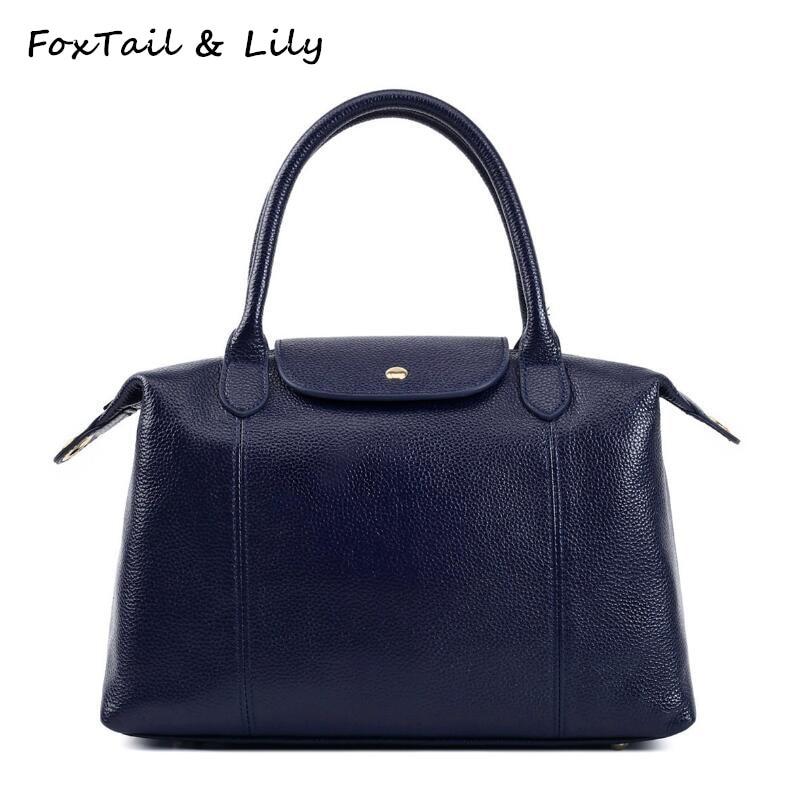 ФОТО FoxTail & Lily Boston Bag Genuine Leather Women Shoulder Bags Famous Designer Real Leather Handbags Ladies Crossbody Bag