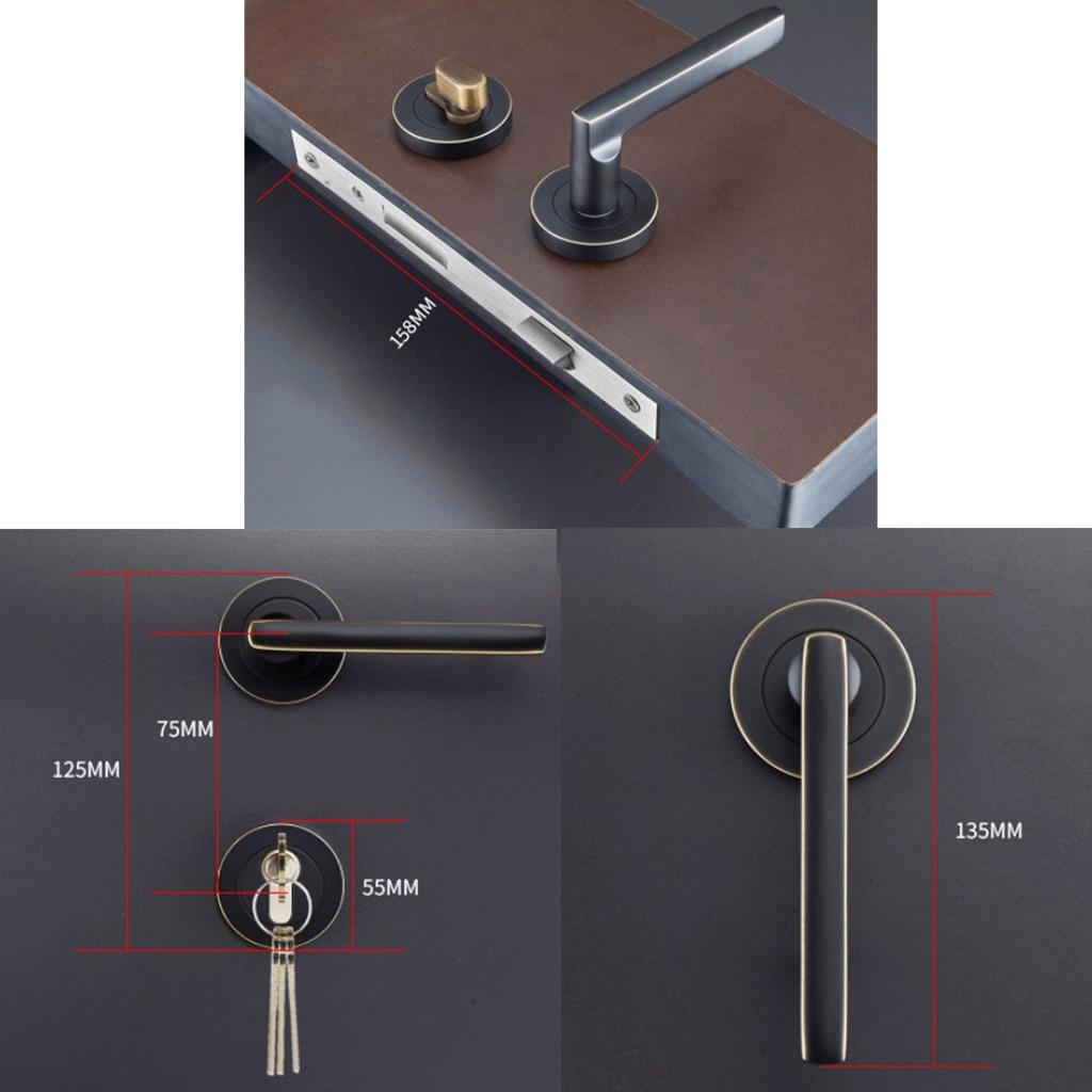 Black Modern Door Handle Lock Set Lever Door Lock Separate Body Series Lock for Wooden Doors