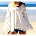 Vancol 2016 New Women Loose Blouses Off Shoulder Sexy Cotton Blusas Long Sleeve Beachwear Plus Size Summer White Blouse