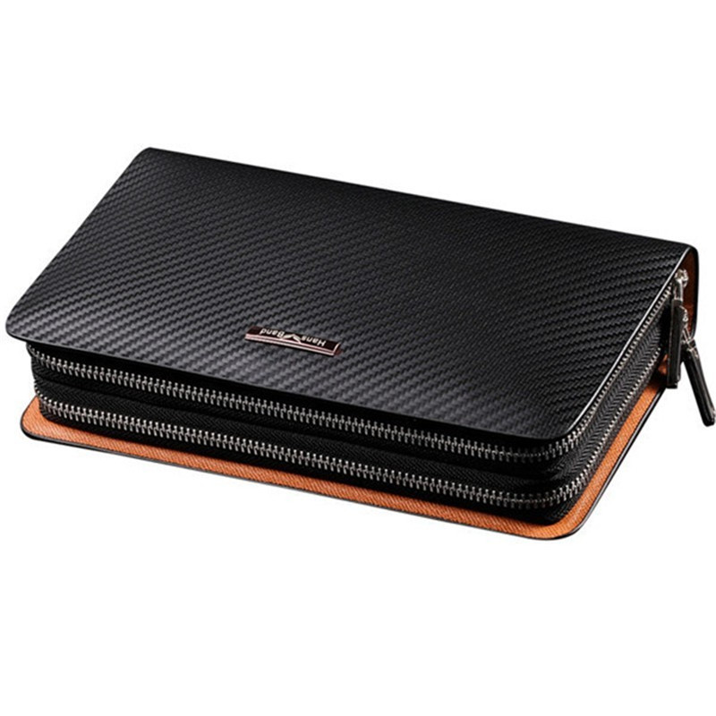 Men Wallet Fashion Genuine Leather Bag Handbags Double Zipper Men Clutch Bags Brand Hand Bag Luxury Business Long Men Wallets new oil wax leather men s wallet long retro business cowhide wallet zipper hand bag 2016 high quality purse clutch bag