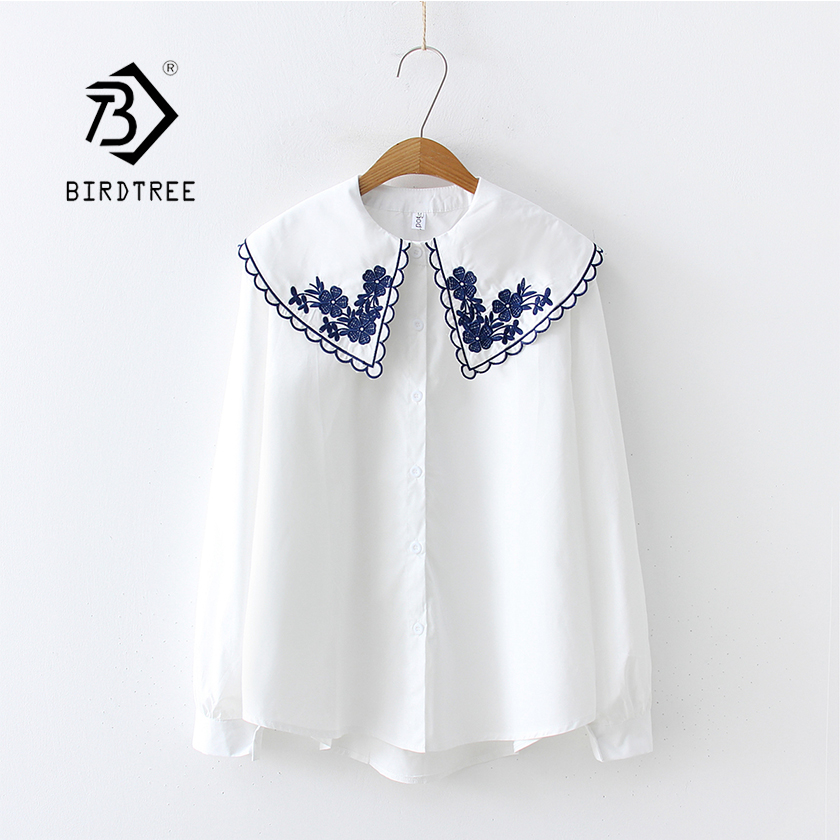 2019 Floral Grass Embroidery White Blouse Peter Pan Collar Long Sleeve Button Up Shirt School Girls Sweet Plus Size Top T93802F