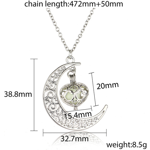 2018 Glowing In The Dark Pendant Necklaces Silver Plated Chain Necklaces Hollow Moon & Heart Choker Necklace Collares Jewelry 5