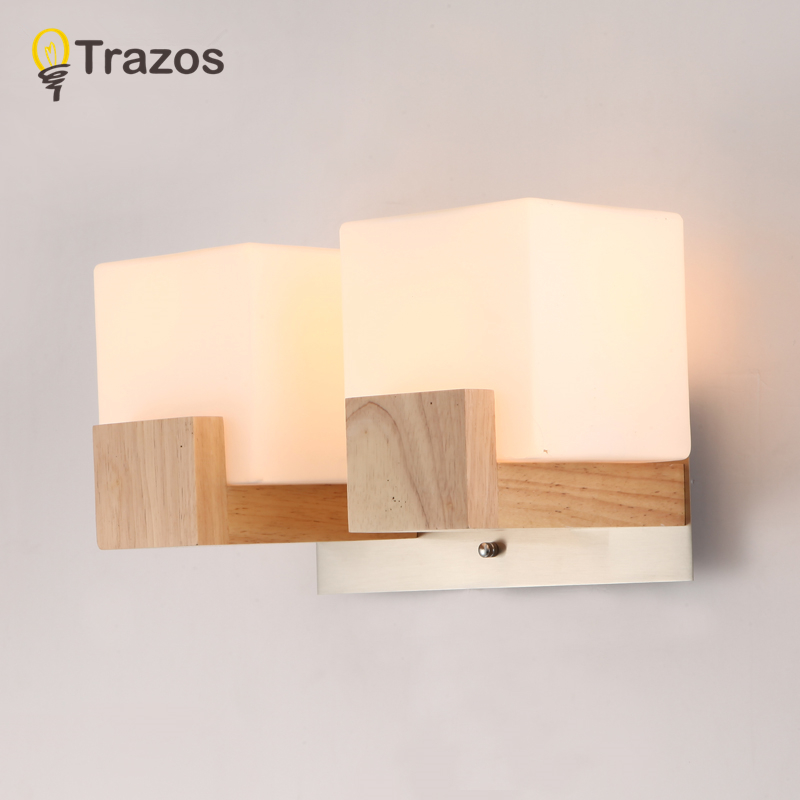 TRAZOS Wooden Wall Lamps Antique Iron wall light american retro vintage design iron wall light industrial lighting E27