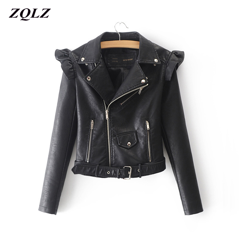 ZQLZ Spring Autumn Moto Biker Pu Pink Leather Jacket Female Turn down Collar Zipper Bomber Motorcycle