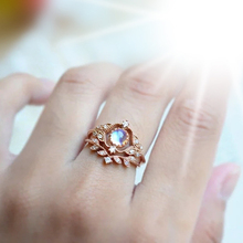 HOMOD Dainty Round Fire Opal Rings Sets for Women Rose Gold CZ Engagement in Copper Promise Ring For Loves Gifts Dropship