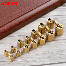 NED 4PCS 10mm Copper Barrel Hinges Cylindrical  Hidden Cabinet Concealed Invisible Brass Mount Furniture Hardware
