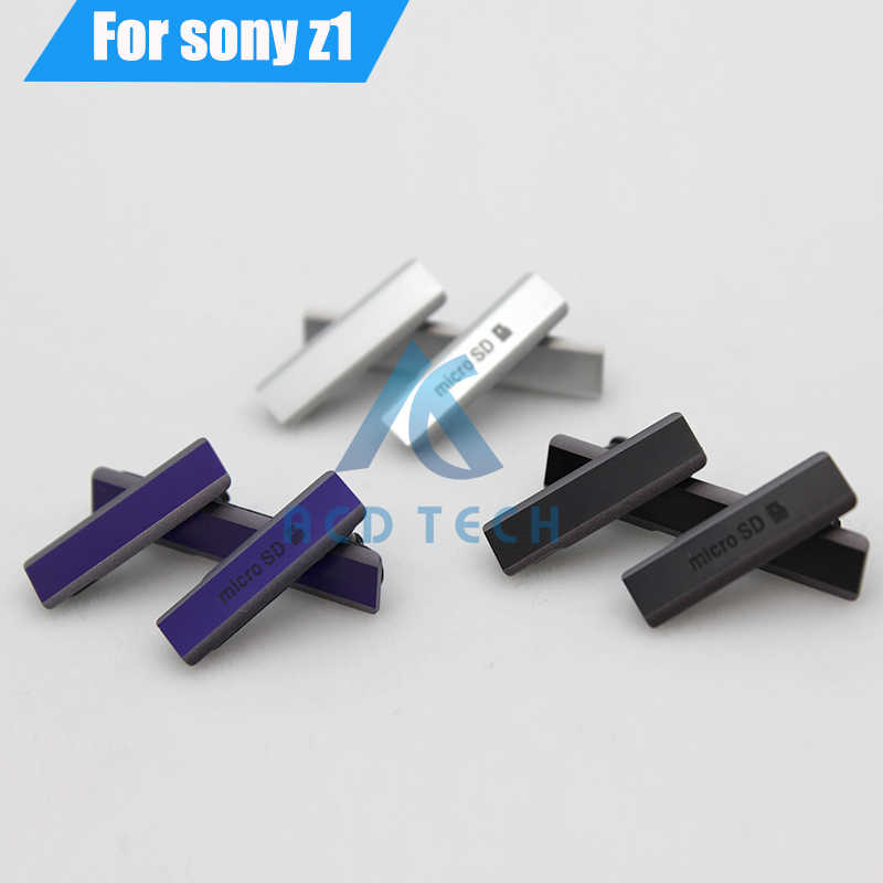 100% Original New USB Charging Port Dust Plug Cover+Micro SD Port +SIM Card Port Slot Waterproof  for Sony Xperia Z1 L39H C6903