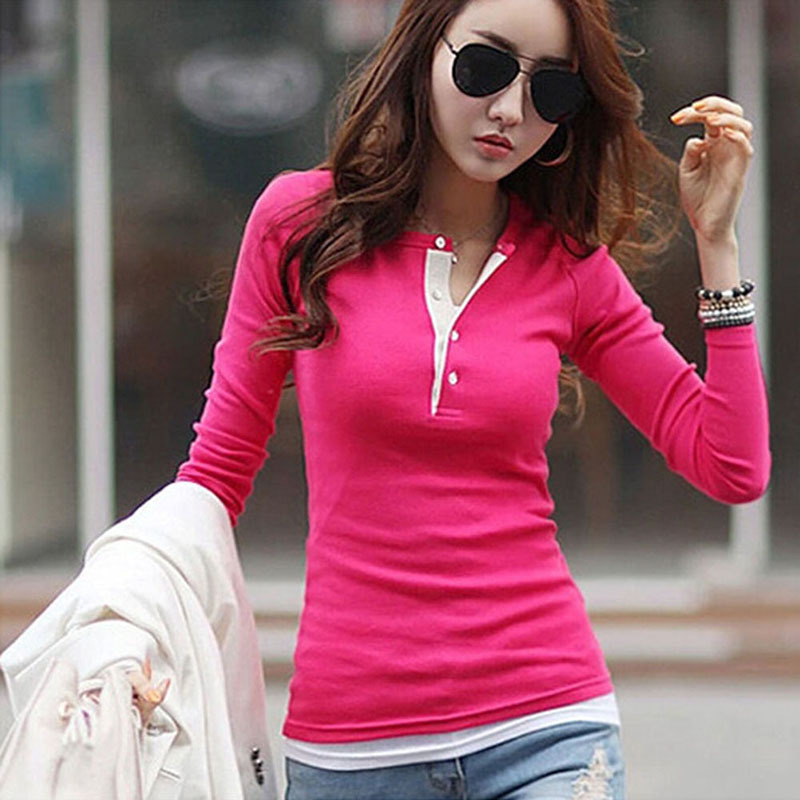New Spring Autumn Women T-shirts Clothing Slim Long Sleeve Shirt Cotton V-neck Tops Tee Blusas Femininas T-shirt