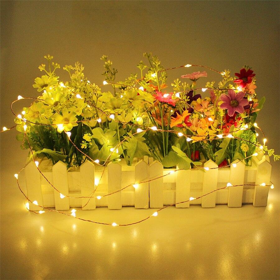 2 м 3 м 4 м 5 м LED Батарея Медный провод Строка Фея гирлянды огни строки Открытый Рождество строка для праздничная Свадебная вечеринка